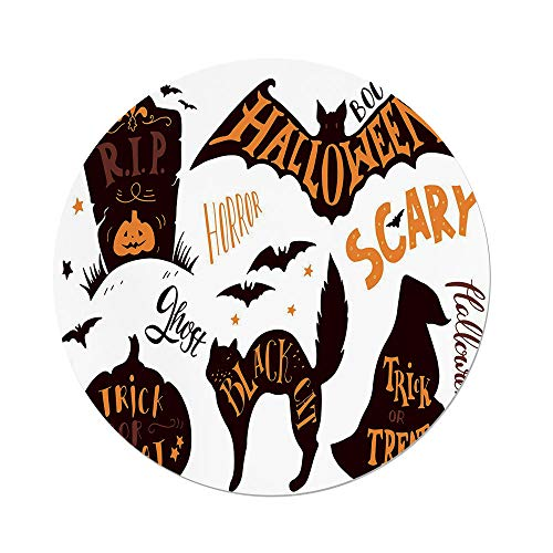 iPrint Polyester Round Tablecloth,Vintage Halloween,Halloween Symbols Trick Treat Bat Tombstone Ghost Candy Scary Decorative,Dark Brown Orange,Dining Room Kitchen Picnic Table Cloth Cover Outdoor Ind