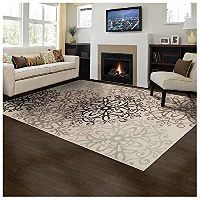 Superior Elegant Leigh Collection Area Rug, 8mm Pile Height with Jute Backing, Chic Contemporary Floral Medallion Pattern, Anti-Static, Water-Repellent Rugs