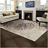 ... Area Rug, 8mm Pile Height With Jute Backing, Chic Contemporary Floral  Medallion Pattern, Anti Static, Water Repellent Rugs   Beige, 8u0027 X 10u0027 Rug