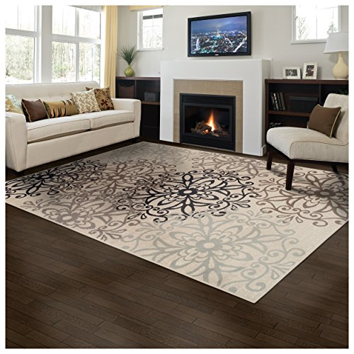 Superior Elegant Leigh Collection Area Rug, 8mm Pile Height with Jute Backing, Chic Contemporary Floral Medallion Pattern, Anti-Static, Water-Repellent Rugs - Beige, 8