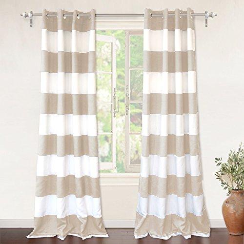 """DriftAway Mia Stripe Room Darkening Grommet Unlined Window Curtains, Set of Two Panels, Each 52""""x84 (Beige) -"""