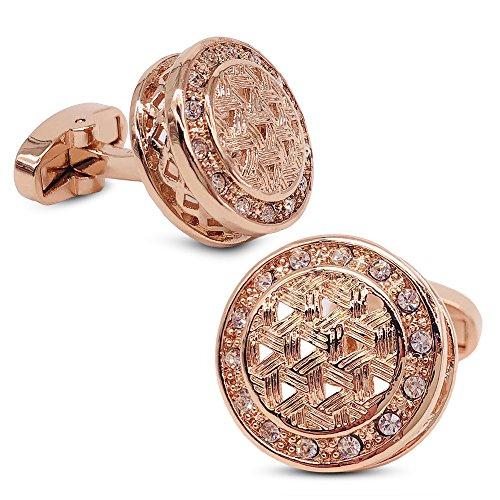 Round Cufflinks Crystal (VIILOCK Round Woven Pattern with Shiny Crystal Cufflinks Wedding Gift for Men (Gold))