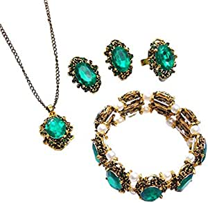 green bronze color jewelary set
