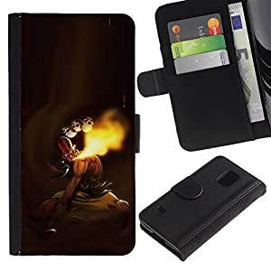 EJOY---Tirón de la caja Cartera de cuero con ranuras para tarjetas / Samsung Galaxy S5 V SM-G900 / --MK indio de combate