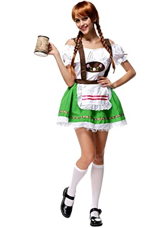 BOZEVON Vestido de Dirndl para Mujeres, Traje de Oktoberfest ...
