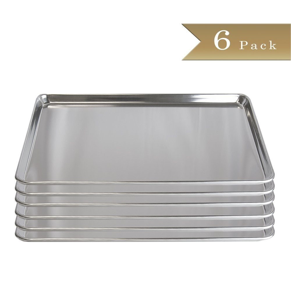 Set of 6 – truecraftware 18ゲージアルミニウムCommercial Baker 'sフルサイズシート/ Bakingトレイ/パン/ 18 x 26