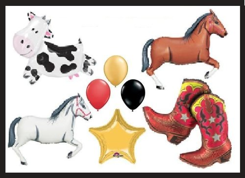 WESTERN RODEO BALLOONS PARTY SUPPLIES decorations booT COW HORSES FARM by Lgp