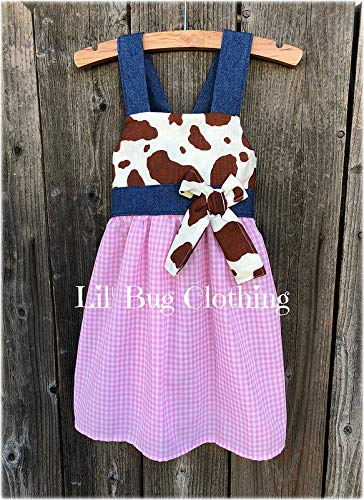 Cow Print Girl Dress- Barn Girl Dress- Cocoa Pink Gingham Dress- Western Wear Girl Clothes from Lil' Bug Clothing