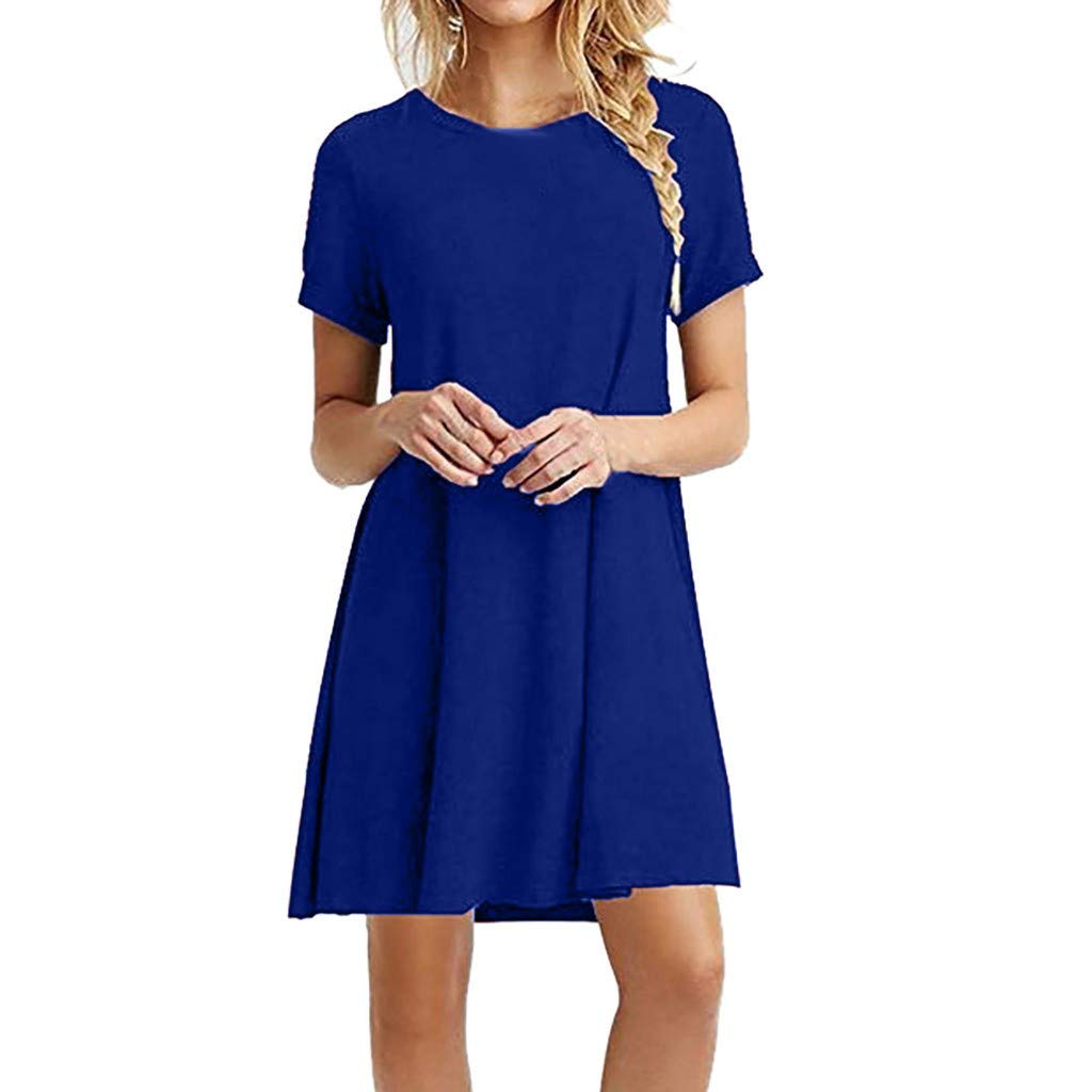 Ballad Women's Dress,Casual Fashion Brief Elegant New,Round Neck Short Sleeve Solid Color Loose Skirt (XL, Blue)