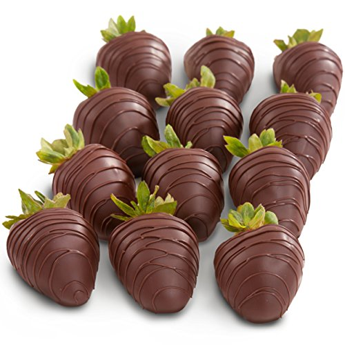 Golden State Fruit 12 Dreamy Dark Chocolate Covered Strawberries (Fruit Chocolate Delivery)