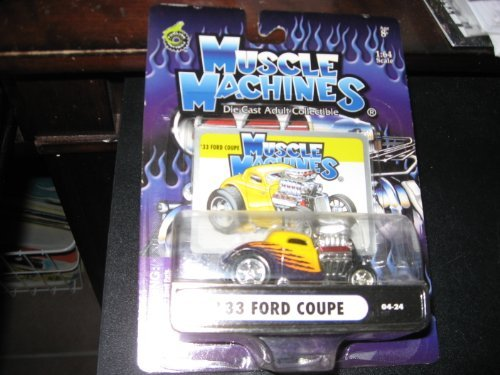 Muscle Machines: 33 Ford Coupe 04-24 Yellow & Graphics 1:64