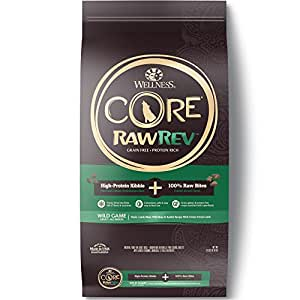 Wellness Natural Pet Food Core Rawrev Grain Free Dry Wild Game Duck Lamb Wild Boar & Dog Food, 18 lb