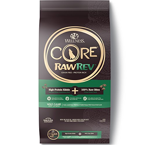 - Wellness Core Rawrev Natural Grain Free Dry Dog Food, Wild Game Duck, Wild Boar & Rabbit With Freeze Dried Lamb, 18-Pound Bag