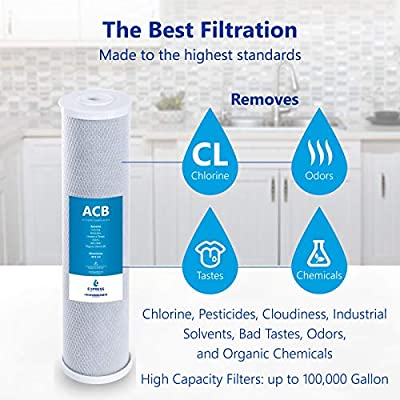 """Express Water - 10 Pack Big Blue Filter Activated Carbon Block Replacement Filter - ACB Large Capacity Water Filter - Whole House Filtration - 5 Micron - 4.5"""" x 20"""" inch"""