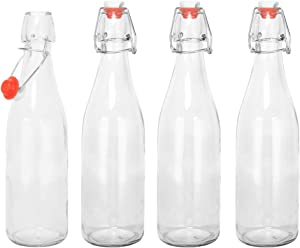 only fire Giare Glass Bottle Swing Top Glass Bottles with Stopper for Vinegar, Beverages, Beer, Water, Kefir, Soda,set of 4,16.9 Oz