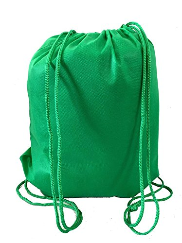 Super Value Pack- 200 Pack Mix Color Drawstring Bags, Small Size Junior Cinch Packs, Non-Woven Backpack (Kelly Green) by Georgiabags