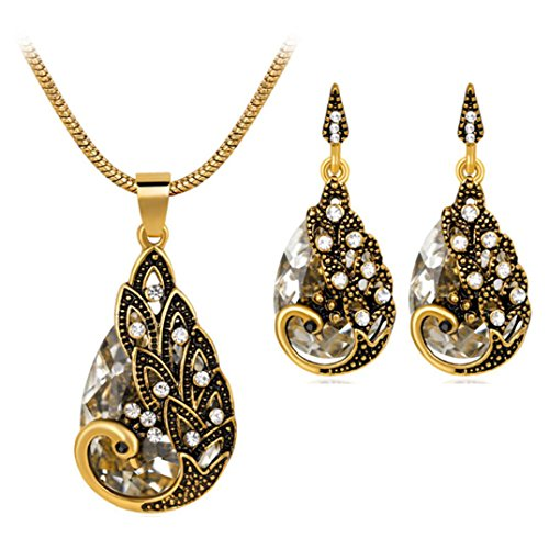 Usstore® Women's Necklace Earring Sets, Retro Peacock Pendant Chain Jewels Friend Gifts (White)