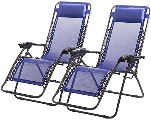 New Zero Gravity Chairs Case Of 2 Lounge Patio Chairs Outdoor Yard Beach O62 Blue