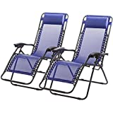New Zero Gravity Chairs Case Of 2 Lounge Patio Chairs Outdoor Yard Beach O62 (Blue)
