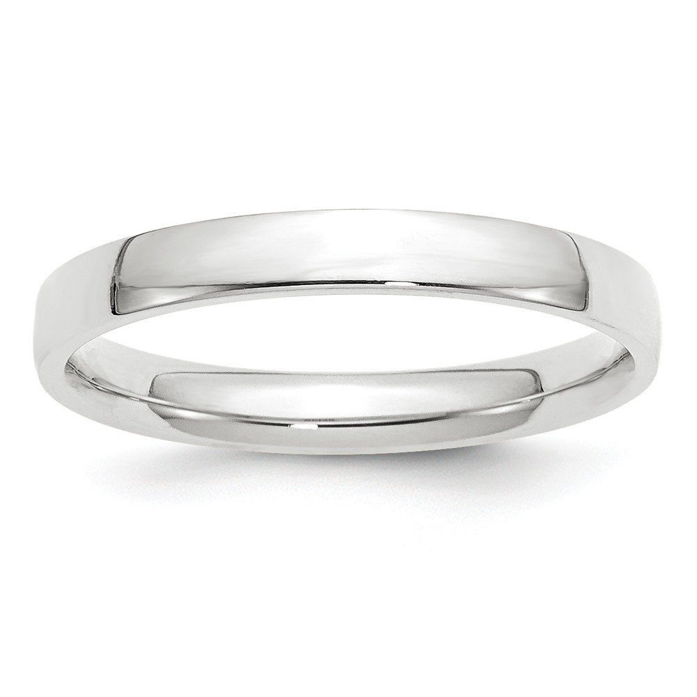 10k White Gold 3mm Light Weight Comfort Fit Band Size 6