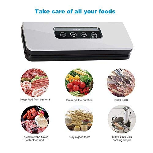 Micho Sous Vide Vacuum Sealer Machine, Newest Automatic Vacuum Air Sealing System for Dry and Moist Foods Preservation, Multipurpose Sucker with Intelligent LED Indicator Lights and Manual Mode
