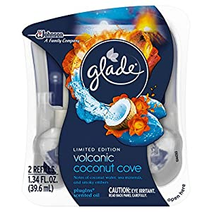 Glade Plugins Scented Oil Air Freshener 2 Piece Refill, Volcanic Coconut Cove, 1.34 Fluid Ounce