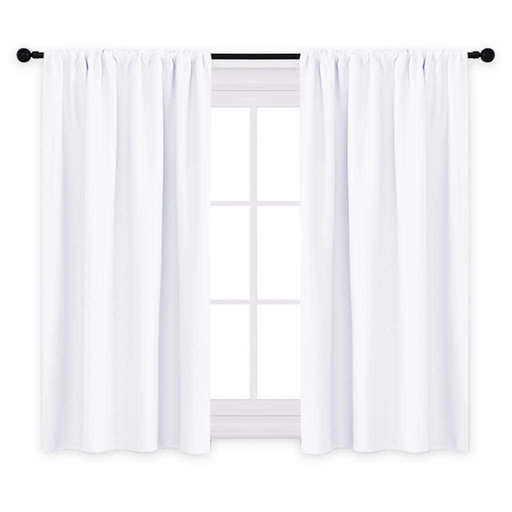 PONY DANCE Window Curtains White - Home Decor Rod Pocket Light Curtain Panels for Dining Room & Bedroom Window Treatments Privacy Protect Semi-Blackout, 42 by 45 inch, Pure White, 2 Pieces