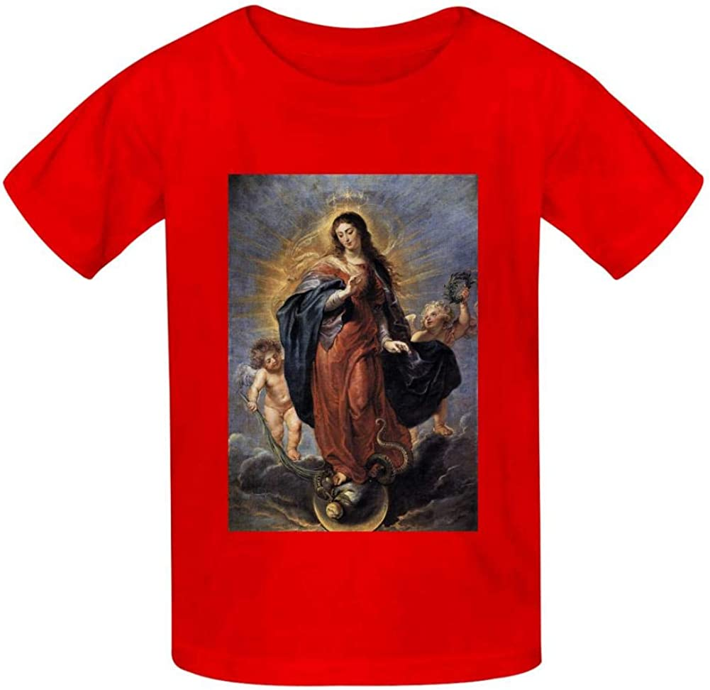 AIAILLLL Virgin Mary and Little Fashion Childrens T-Shirts for Casual Pug Narwhal Alpaca