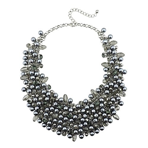 (Bocar Fashion Faux Pearl Crystal Chunky Collar Statement Necklace for Women Gift (NK-10260-grey))