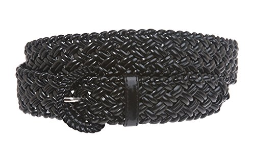 - MONIQUE Women 100% Hand Made Metallic Braided Woven Non Leather 32mm Belt,Black M - 36