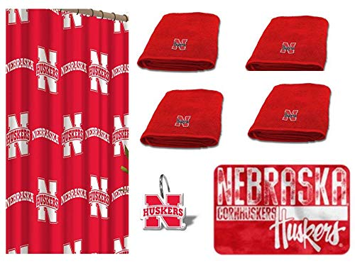 (NCAA Nebraska Cornhuskers 18 Piece Bath Ensemble: Set Includes 1 Shower Curtain, 12 Shower Hooks, 4 Bath Towels, and 1 Bath)