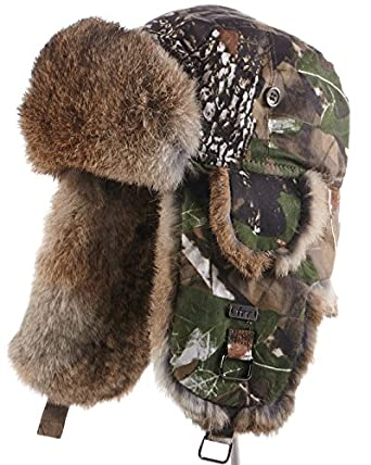 5248f08452 frr Camouflage Trapper Hat with Natural Brown Rabbit Fur at Amazon ...