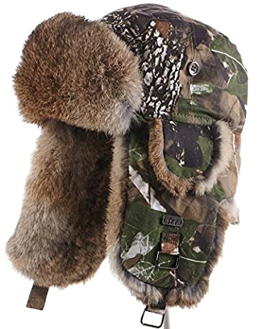 21f42069e7d frr Camouflage Trapper Hat with Natural Brown Rabbit Fur at Amazon ...