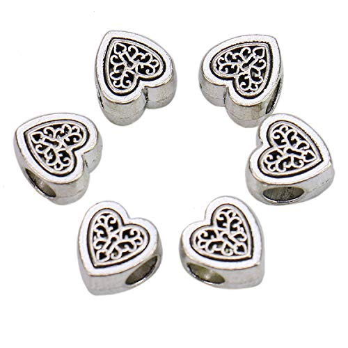 Monrocco 100 Pack Tibetan Antique Silver Alloy Metal Heart Tree of Life Spacer Beads Loose Beads Charms Bulk for Bracelets Jewelry Making