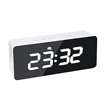 Shuzhen,Alarma Digital Pantalla LED Reloj de Espejo Reloj de sobremesa Noche(Color:Blanco): Amazon.es: Hogar