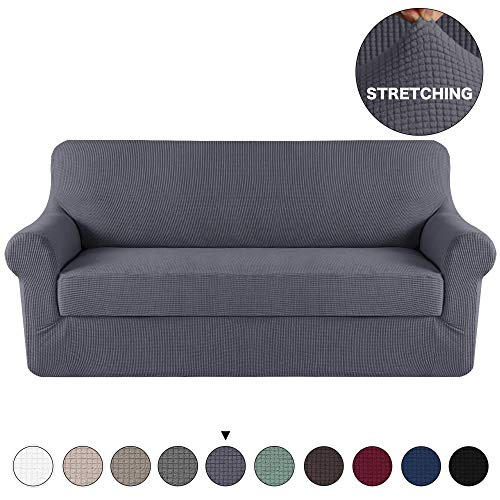 Turquoize Grey Sofa Slipcover Stretch High Spandex Sofa Cover/Lounge Covers/Couch Covers Furniture Covers for 3 Seater Cushion Cover Stretch, 2-Piece with Separated Sitting Cushion Cover (Sofa, Grey) (3 Seater 2 Seater)