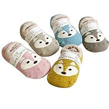 Sumen 3 Pairs Little Fox Kids Toddler Baby Anti-slip Sock Shoes Boots Slipper Socks