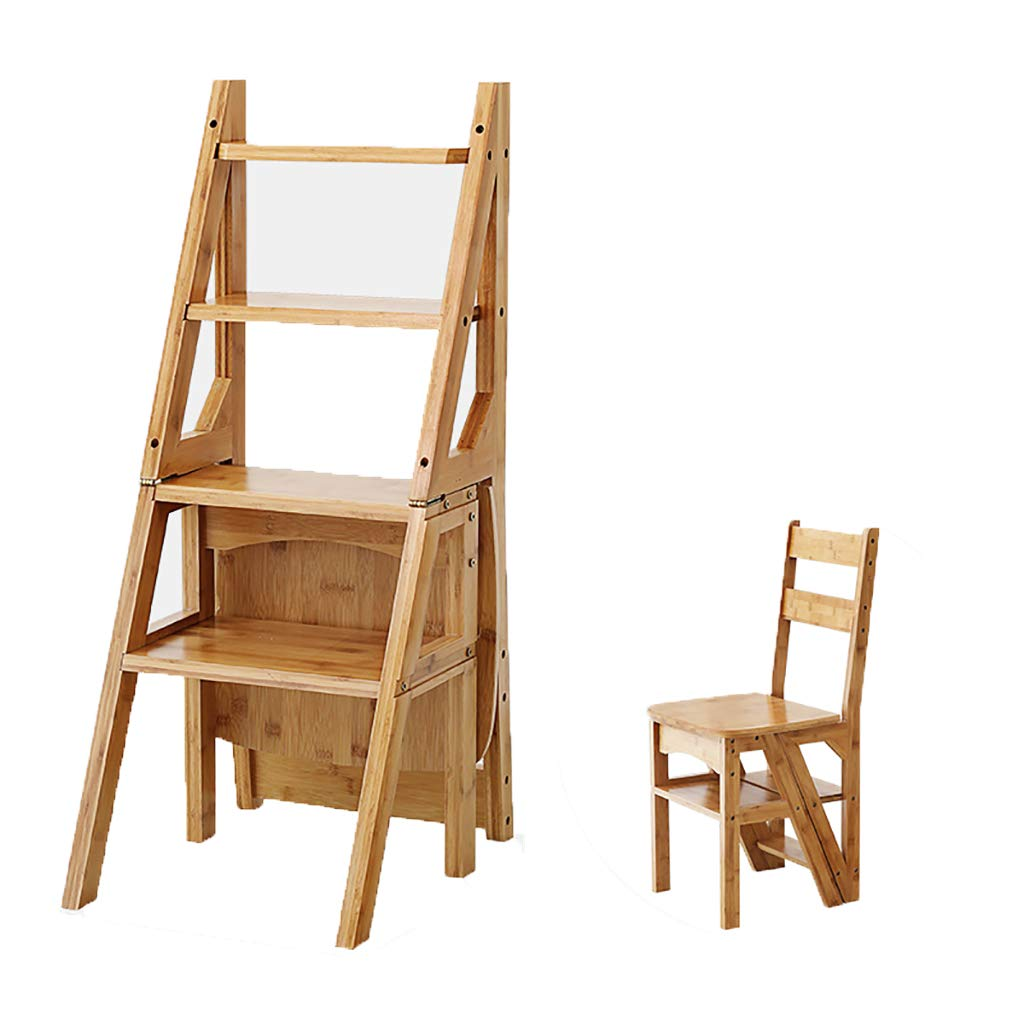 Jin Step Stool Solid Wood Folding Ladder Chair Dual Purpose Step Stool 4 Step Ladder Rack Chair Multi-Convertible Stair Stool Home Kitchen Garden Library by Jin