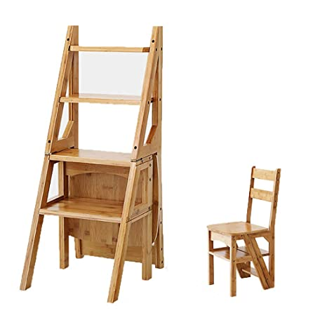 Astonishing Amazon Com Jin Step Stool Solid Wood Folding Ladder Chair Alphanode Cool Chair Designs And Ideas Alphanodeonline
