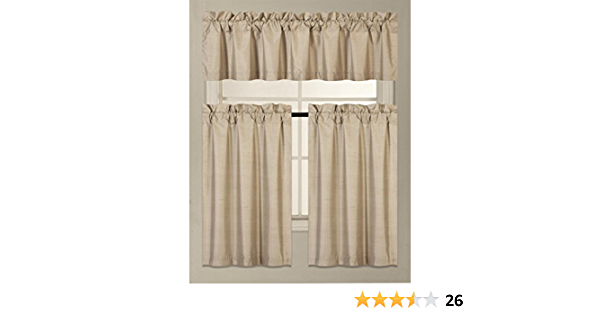 K3 3 PC Kitchen Window Valance Tier Curtain Faux Silk Panels Lined Thermal Room Darkening Insulated Blackout Set GorgeousHomeLinen Brown