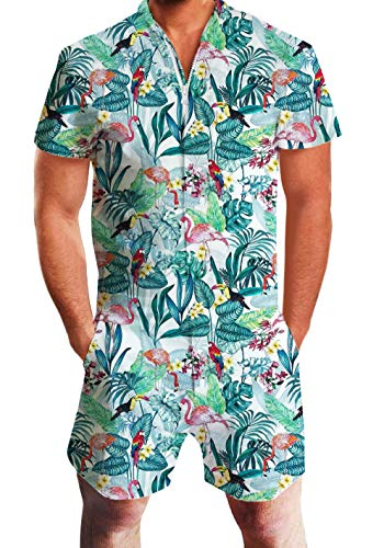 UNIFACO Men's Male Romper Original Romper Jumpsuit Costume 3D Graphic Floral Flamingo Short Sleeve Playsuit Overalls One Piece Slim Fit Medium