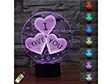Junson Laptop Valentine's Day Love 4 Heart LED Light 7 Color Changing Smart Touch USB Table Desk Lamps Decorative Lighting (I Love You) Reading Lamp