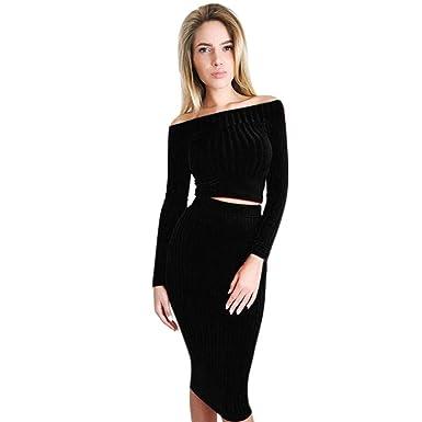 Damen Kleid Longra Damen Lange Ärmel aus der Schulter Knitted Top ...