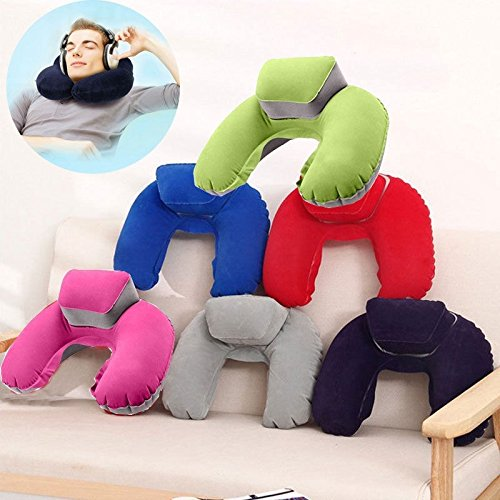 KINJOHI Travel Pillow Inflatable U Shape Neck Blow Up Cushion PVC Flocking Pillow for Camping and Traveling, with Storage Bag by KINJOHI (Image #2)