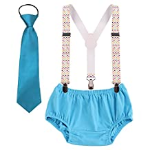 Baby Boys Suspenders Necktie set Y Back Clip First Birthday Bloomers Outfits