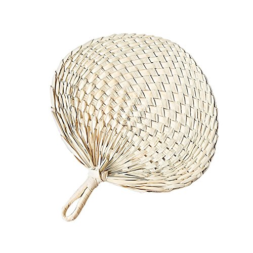 blue--net Natural Raffia Hand Fan, Chinese Style Natural Handmade Palm-leaf Fan Cool Fan Exquisite Handicraft Perfect for Summer, Home Decoration]()