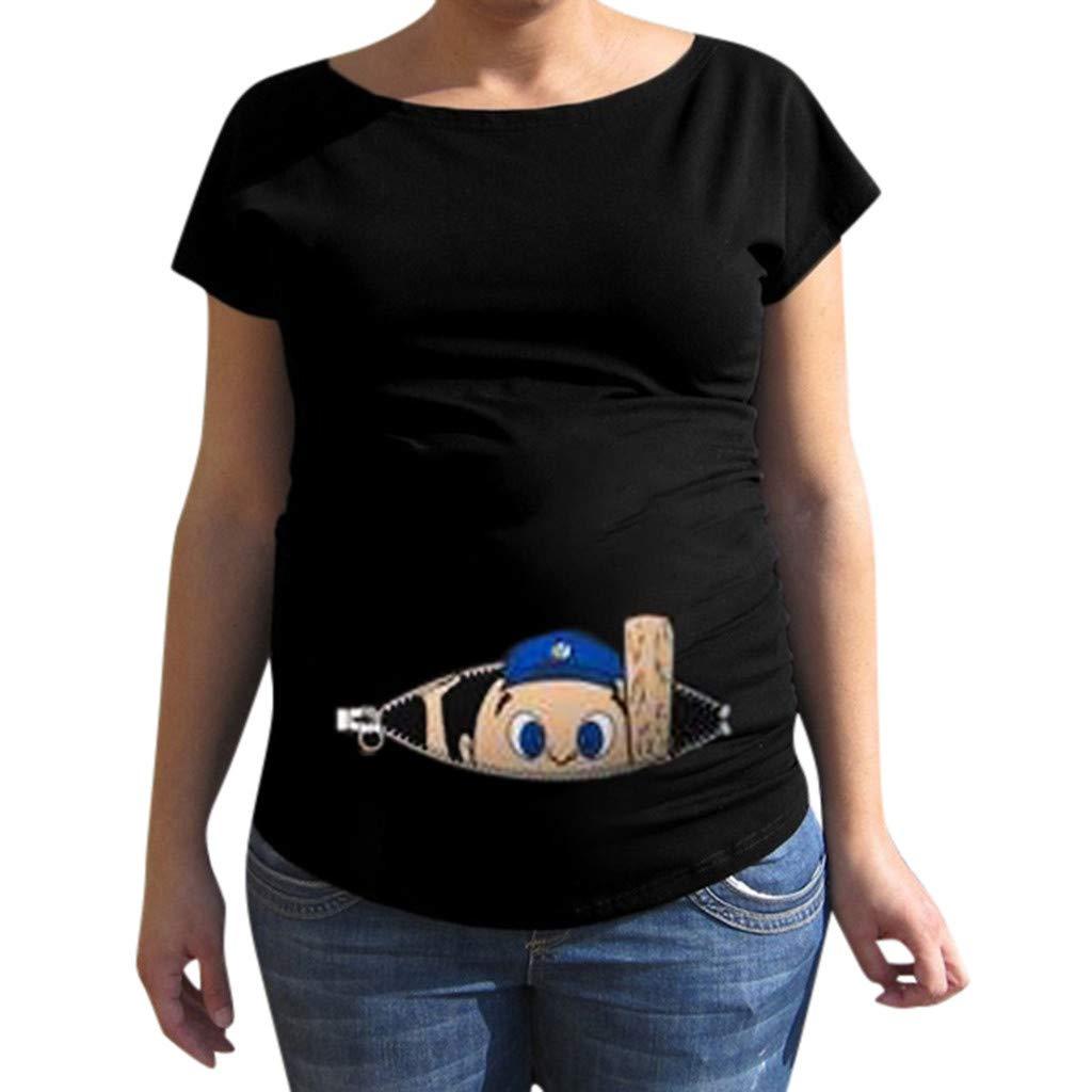 Women Maternity Shirt Short Sleeve Cartoon Print Tops Loose Pregnancy Clothes (M, Blue)