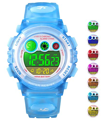 Price comparison product image Kid Watch for Boy Girl Child Multi Function Digital LED Sport 50M Waterproof Electronic Analog Quartz Watches Gift Light Blue