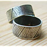 Unique Handmade His and Her Couple Promise Rings Set for Two Rings Leaf Engraved Personalized Texture Bands