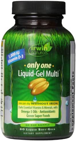 Irwin Naturals Only One Liquid-Gel Multi - No Iron Daily Essential Vitamins, Minerals, Antioxidants, Omega-3 & Green Super Foods - 60 Liquid Softgels